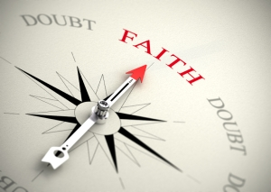 Faith versus doubt, religion or confidence concept